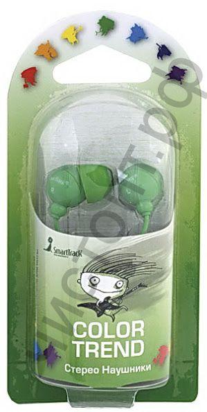 Наушники SmartBuy® COLOR TREND, провод 1.2м, зеленые вакуум.(арт. STE-3200)