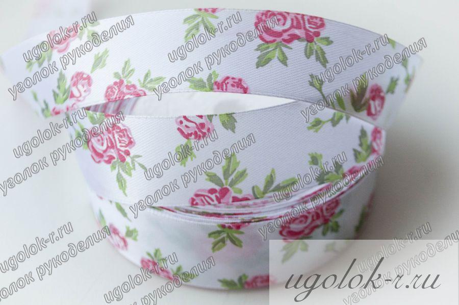 Лента 25 мм атласная с розами