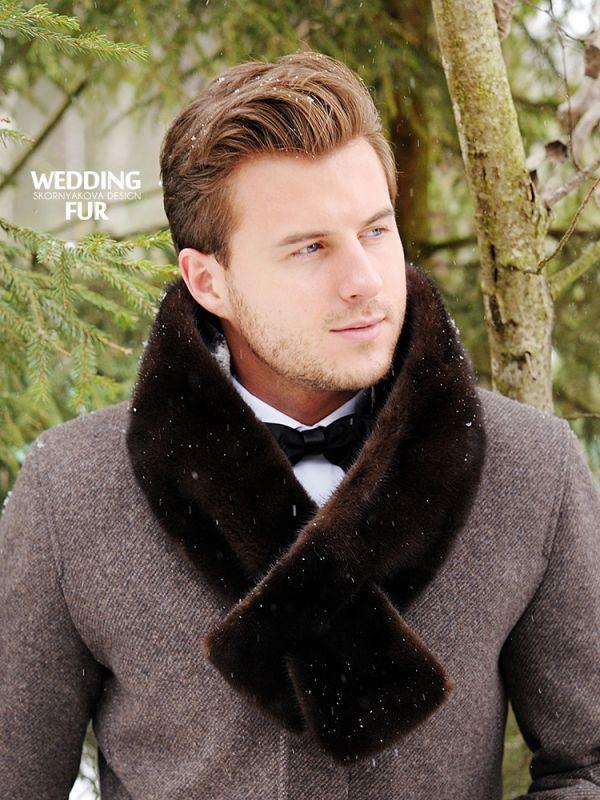 Мужской меховой шарф из норки