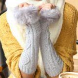 Длинные вязанные перчатки с мехом