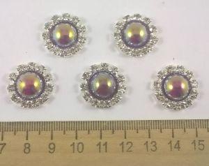 `Кабошон со стразой, диаметр 20 мм, цвет основы серебро, цвет стразы фиолетовый хамелеон