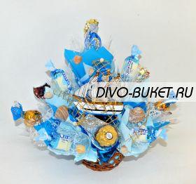 """Подарок из конфет с корабликом №630 """"Голубая волна"""""""