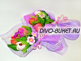 """Букет из конфет №629 """"Конфетные тюльпаны с розочками"""""""
