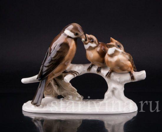 Фарфоровая статуэтка птиц Воробьи на ветке производства Hutschenreuther, Германия, 1945-49 гг.