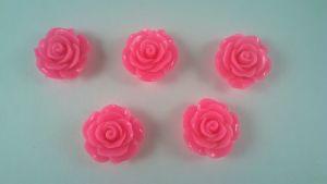 """Кабошон """"Розочка"""", пластик, 19 мм, цвет - ярко-розовый, 1уп=50шт"""