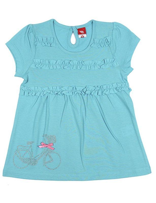 Ажурная футболка для девочки бирюзового цвета