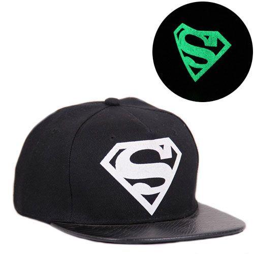"""Светящаяся кепка рэперка """"Супермен"""" (черная)"""