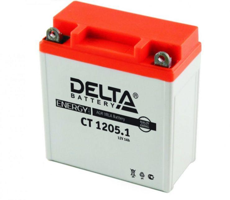 Мото аккумулятор АКБ Delta (Дельта) CT 1205.1 о.п. 5Ач 12N5-3B, YB5L-B