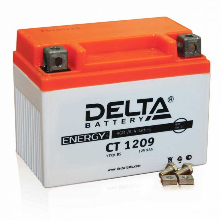 Мото аккумулятор АКБ Delta (Дельта) CT 1209 п.п. 9Ач YTX9-BS