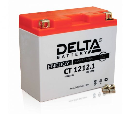 Мото аккумулятор АКБ Delta (Дельта) CT 1212.1 12Ач п.п. YT12B-BS