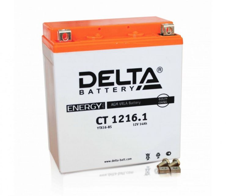 Мото аккумулятор АКБ Delta (Дельта) CT 1216.1 16Ач п.п. YTX-16-BS, YB16-BA
