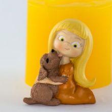 Форма для мыла Девочка с щенком 3D (силикон)