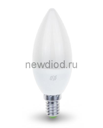 Лампа светодиодная LED-СВЕЧА-standard 5Вт 160-260В Е14 3000К 450Лм ASD