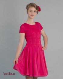 Платье для девочки для бальных танцев, красное