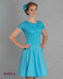 Платье для девочки для бальных танцев, голубое