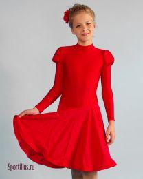 Платье с длинным рукавом, красное