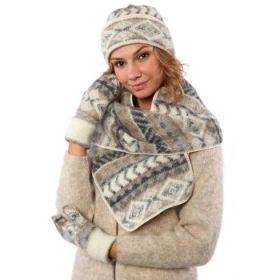 Комплект шапка, шарф, варежки вязаный из Исландской шерсти 08111-72