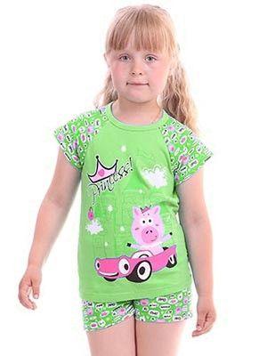 Зеленая легкая пижама для девочки
