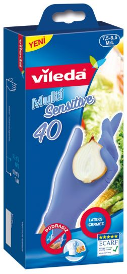 "Vileda Перчатки ""Multi Sensitive"" одноразовые, из нитрила, размер M/L, 40 шт"