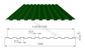 Профнастил С-8 (0,45мм) 1,2*2,5м Полиэстр
