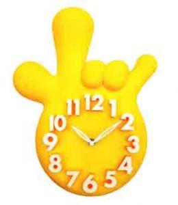 Часы Ладонь желтые