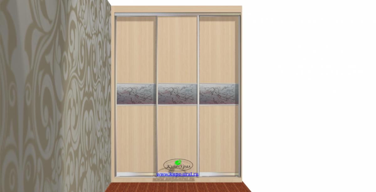 Шкаф купе  встроенный на Краснолесья с комбинированными дверями