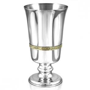 Средневековый зеркальный кубок из пьютера- Кельтская Тесьма (латунный обод) Celtic Band goblet brass band