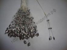 веточка с бусинами 12см серебро (рис)