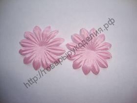 атласные цветочки 38мм розовые 10шт