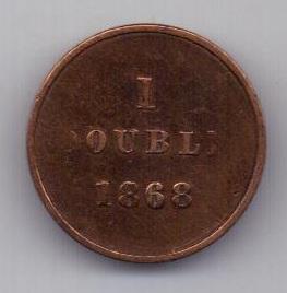 1 дубль 1868 г. редкий год. Гернси