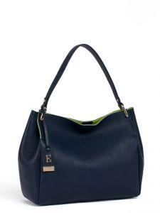 Синяя кожаная сумка Eleganzza
