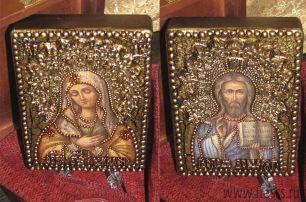 """Венчальная пара икон """"Умиление БМ и Спаситель"""" 11 х 15 см, роспись по дереву, сусальное золото, серебряная поталь"""