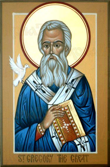 Григорий Двоеслов (рукописная икона)