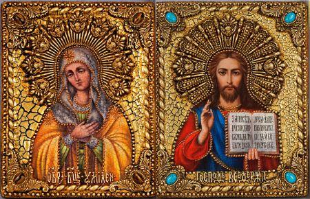 """Венчальная пара икон """"Умиление БМ и Спаситель"""" 18 х 23 см, самоцветы"""