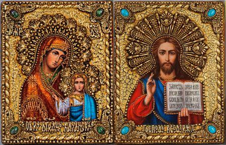 """Венчальная пара икон """"Казанская БМ и Спаситель"""" 18 х 23 см, самоцветы"""