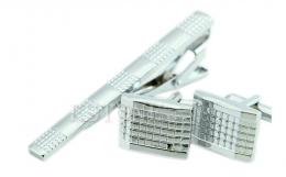 зажим для галстука и запонки под серебро, модель 9