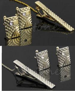 зажим для галстука и запонки, под золото и под серебро, модель 16