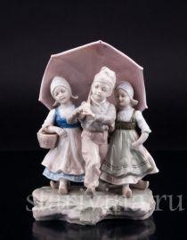 Дети под зонтом, Karl Ens, Германия, кон. 19 в