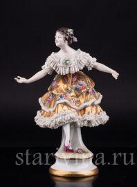 Балерина в золотом платье, кружевная, Volkstedt, Германия, до 1935 г