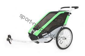Коляска Thule Chariot Cheetah1/Чита1, в комплекте с велосцепкой, зеленый, 14-