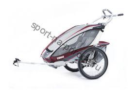 Коляска Thule Chariot CX2/Си Икс2, в комплекте с велосцепкой, бордовый, 14-