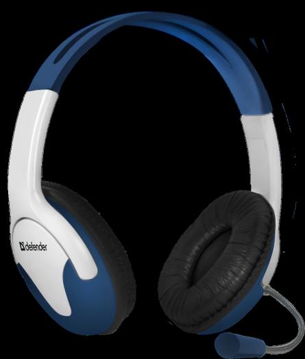 Мониторные наушники с микрофоном Defender Bravo 116 синий + белый, кабель 1,8 м