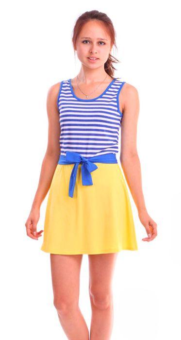 Бело-голубое платье в полоску