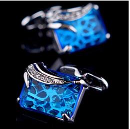 Запонки с синим камнем горный хрусталь под серебро, модель 22