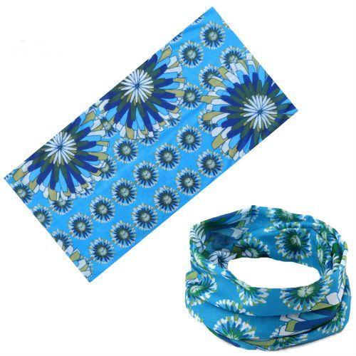 Универсальная бандана синяя с цветами