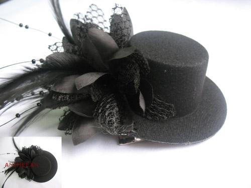 Черная Мини-шляпка