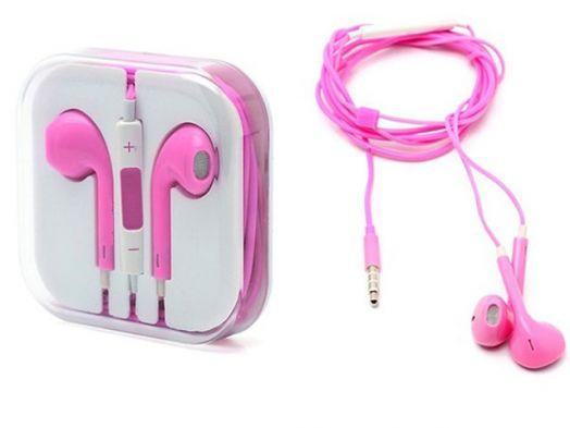 Наушники вакуумные - гарнитура Apple Iphone+микрофон+регулятор (розовый)