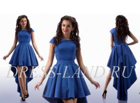 Синее платье со шлейфом и пышной юбкой