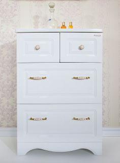 Комод для ванной комнаты Бриклаер Анна 65, белый глянец