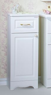 Тумба для ванной комнаты Бриклаер Анна 32, белый глянец, с корзиной для белья